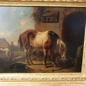 Wouterus Verschuur (1812-1874) – Paard en hond bij de stal
